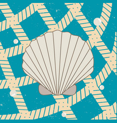 Vitage poster with seashell pearls and net vector
