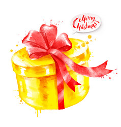Watercolor of gift box vector
