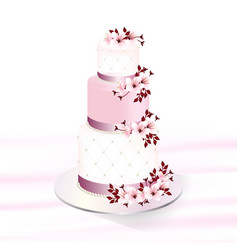 Wedding cake decorated with cherry blossoms vector