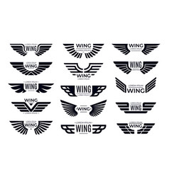 Wings badges flying emblem eagle bird wing and vector