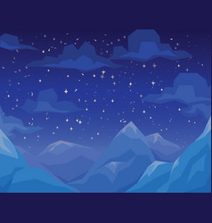 winter scene with mountains landscape night vector image