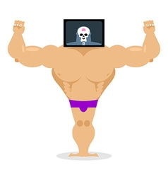 X-ray head bodybuilder large muscles and small vector