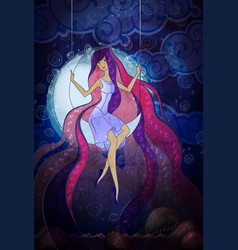 young woman swinging on moon vector image