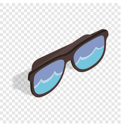 black sunglasses with a beach reflecting isometric vector image vector image