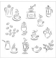 coffee and tea set vector image vector image