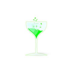 glass of fizzy poison isolated on white background vector image