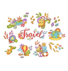 Doodle hand drawn sticker with travel and summer vector image vector image