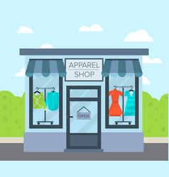 facade apparel shop building in flat design vector image vector image