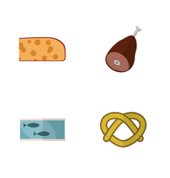 flat icon food set of meat cheddar slice cookie vector image