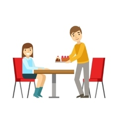 Guy Briniging Cakes To The Girl At The Table vector image