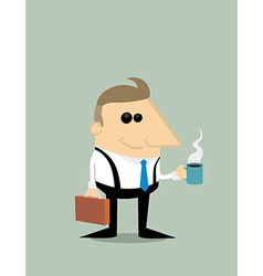 Happy Cartoon businessman with coffee vector image vector image