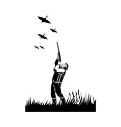 hunter aiming shotgun rifle at duck vector image vector image