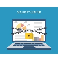 Laptop with chains and locked with a padlock vector
