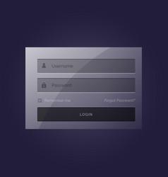 stylish login form modern template design in dark vector image vector image