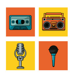 white background with colorful squares with audio vector image
