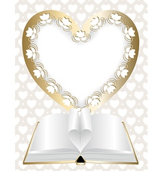 Festive background with frame in shape of heart vector image vector image