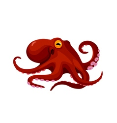 red cartoon isolated octopus vector image