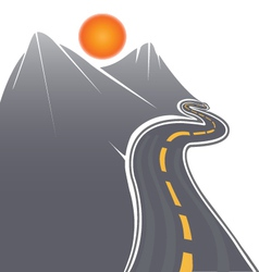 Road mountains and sun vector