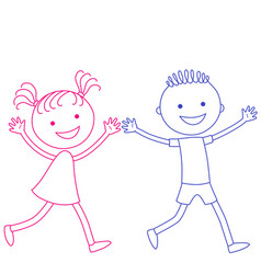running boy and girl vector image vector image