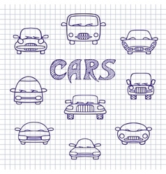 Set of sketches cars vector image