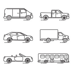 set of thin line transportation icons vector image vector image