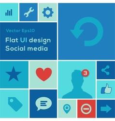Flat UI design trend social media set icons vector image vector image