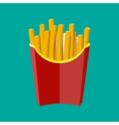 French fries in red paper box potato fast food vector image