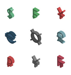 symbols of world currencies isometric vector image