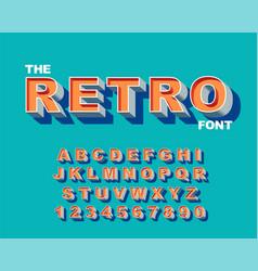3d bold retro font vintage alphabet 80 s vector