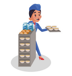 Air hostess cartoon vector