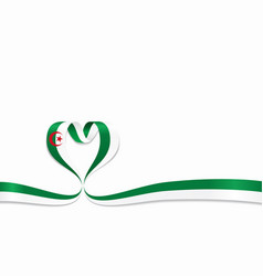 algerian flag heart-shaped ribbon vector image