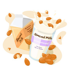 almond milk in a pack and splash with whole vector image
