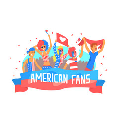 american fans banner template happy sport fans in vector image