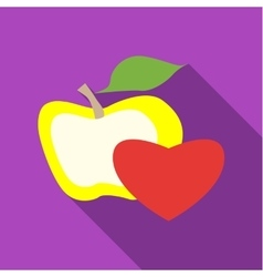 Apple and heart icon flat style vector