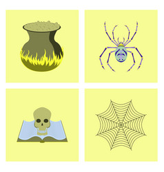assembly flat ghost spider book skull web vector image