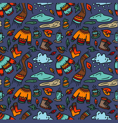autumn seamless pattern on dark background vector image