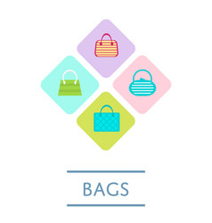 Bags shop icon set in flat design vector