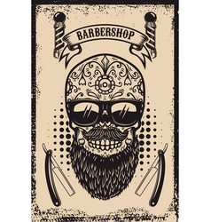 Barbershop poster template bearded mexican sugar vector