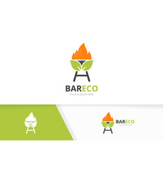 Bbq and leaf logo combination grill and vector