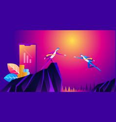 big hand help businessman jump to vector image