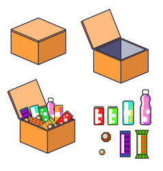 Box with products clip art vector