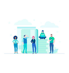 business team - flat design style vector image