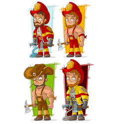 Cartoon fireman in uniform character set vector