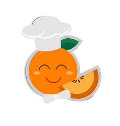 Cartoon orange chef with paper shadow vector