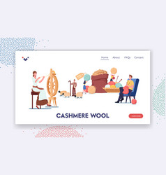 Cashmere producing landing page template woman vector