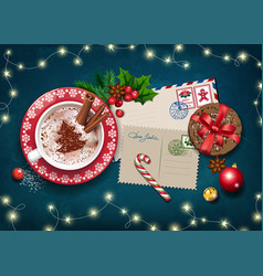 Christmas card with letter to santa and big cup vector