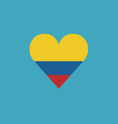 colombia flag icon in a heart shape in flat design vector image
