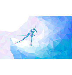 cross country skiing creative silhouette the vector image