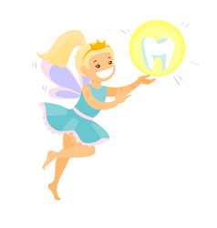 Cute blonde tooth fairy flying with a tooth vector