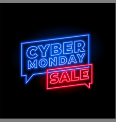 cyber monday sale in neon style background design vector image